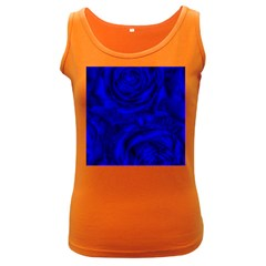 Gorgeous Roses,deep Blue Women s Dark Tank Tops