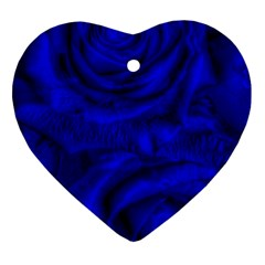 Gorgeous Roses,deep Blue Heart Ornament (2 Sides)