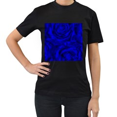 Gorgeous Roses,deep Blue Women s T Shirt (black)