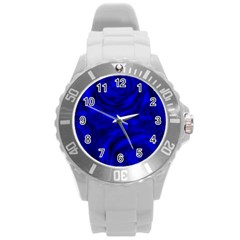Gorgeous Roses,deep Blue Round Plastic Sport Watch (l)