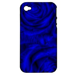 Gorgeous Roses,deep Blue Apple Iphone 4/4s Hardshell Case (pc+silicone)