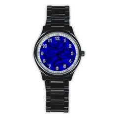 Gorgeous Roses,deep Blue Stainless Steel Round Watches