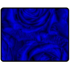 Gorgeous Roses,deep Blue Double Sided Fleece Blanket (medium)