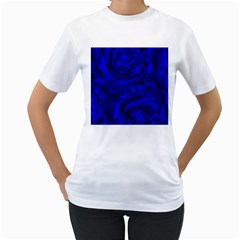 Gorgeous Roses,deep Blue Women s T Shirt (white)