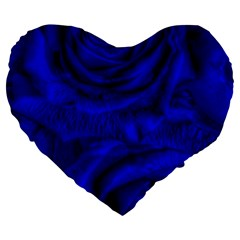 Gorgeous Roses,deep Blue Large 19  Premium Flano Heart Shape Cushions