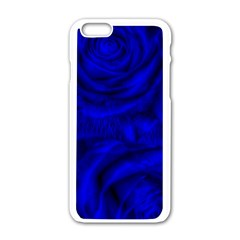 Gorgeous Roses,deep Blue Apple Iphone 6 White Enamel Case