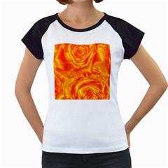 Gorgeous Roses, Orange Women s Cap Sleeve T