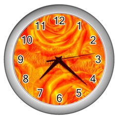 Gorgeous Roses, Orange Wall Clocks (silver)