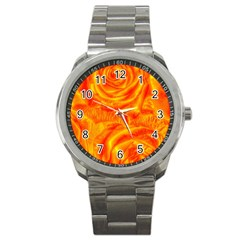 Gorgeous Roses, Orange Sport Metal Watches by MoreColorsinLife