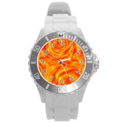 Gorgeous Roses, Orange Round Plastic Sport Watch (l)