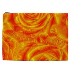 Gorgeous Roses, Orange Cosmetic Bag (xxl)