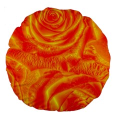 Gorgeous Roses, Orange Large 18  Premium Round Cushions by MoreColorsinLife