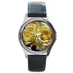 Yellow Roses Round Metal Watches