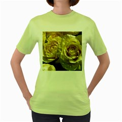 Yellow Roses Women s Green T Shirt