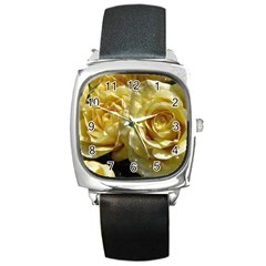 Yellow Roses Square Metal Watches