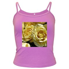 Yellow Roses Dark Spaghetti Tanks