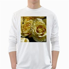 Yellow Roses White Long Sleeve T Shirts