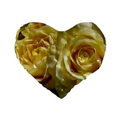 Yellow Roses Standard 16  Premium Heart Shape Cushions by MoreColorsinLife