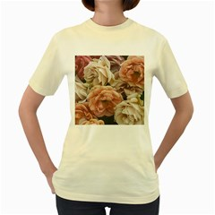 Great Garden Roses, Vintage Look  Women s Yellow T Shirt