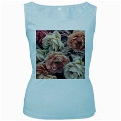 Great Garden Roses, Vintage Look  Women s Baby Blue Tank Tops