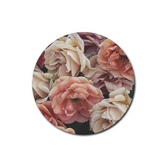 Great Garden Roses, Vintage Look  Rubber Coaster (round)