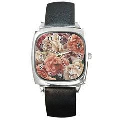 Great Garden Roses, Vintage Look  Square Metal Watches
