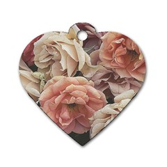 Great Garden Roses, Vintage Look  Dog Tag Heart (two Sides) by MoreColorsinLife