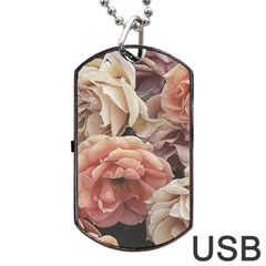 Great Garden Roses, Vintage Look  Dog Tag Usb Flash (one Side)