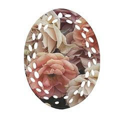 Great Garden Roses, Vintage Look  Oval Filigree Ornament (2 Side)