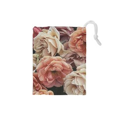 Great Garden Roses, Vintage Look  Drawstring Pouches (small)