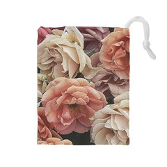 Great Garden Roses, Vintage Look  Drawstring Pouches (large)