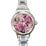 Great Garden Roses Pink Round Italian Charm Watches