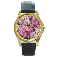 Great Garden Roses Pink Round Gold Metal Watches
