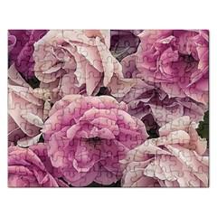 Great Garden Roses Pink Rectangular Jigsaw Puzzl by MoreColorsinLife