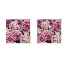 Great Garden Roses Pink Cufflinks (square)