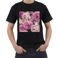 Great Garden Roses Pink Men s T Shirt (black)