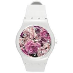 Great Garden Roses Pink Round Plastic Sport Watch (m)