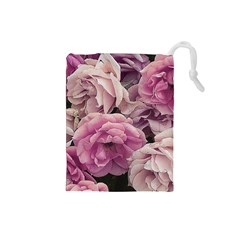 Great Garden Roses Pink Drawstring Pouches (small)  by MoreColorsinLife