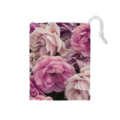Great Garden Roses Pink Drawstring Pouches (medium)