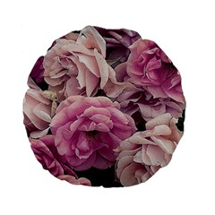 Great Garden Roses Pink Standard 15  Premium Flano Round Cushions