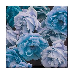 Great Garden Roses Blue Tile Coasters