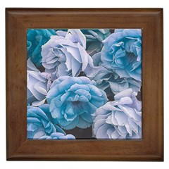 Great Garden Roses Blue Framed Tiles by MoreColorsinLife