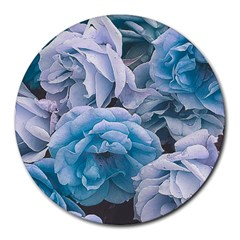 Great Garden Roses Blue Round Mousepads