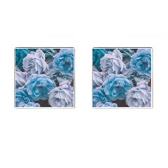 Great Garden Roses Blue Cufflinks (square)