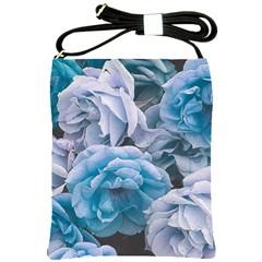Great Garden Roses Blue Shoulder Sling Bags by MoreColorsinLife