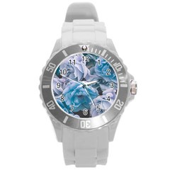Great Garden Roses Blue Round Plastic Sport Watch (l)