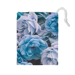 Great Garden Roses Blue Drawstring Pouches (large)