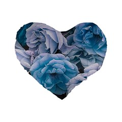 Great Garden Roses Blue Standard 16  Premium Flano Heart Shape Cushions