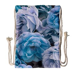 Great Garden Roses Blue Drawstring Bag (large)
