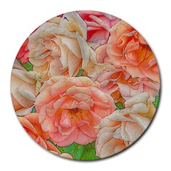 Great Garden Roses, Orange Round Mousepads by MoreColorsinLife